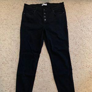 LOFT Button Fly Raw Hem Black Jeans